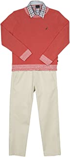 Nautica Toddler Boys' Three Piece Set with Sweater, Woven Shirt, and Twill Pant