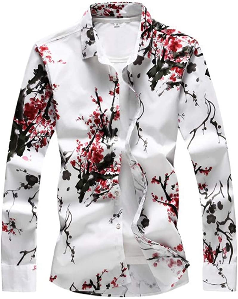 Men's Autumn Floral Shirt Long Sleeve Casual Printed Button Down Slim Fit Shirts