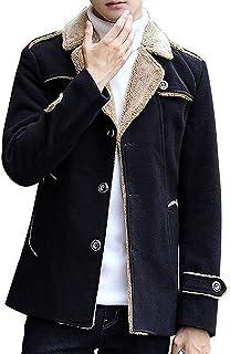 (アイラブコス)iLoveCos ジャケット ショートコート ランチコート アウター メンズ シングル おしゃれ タイト スタイリッシュ シンプル 秋冬 メルトン 裏ボア 防寒着 防風防寒保温 ボタン仕様
