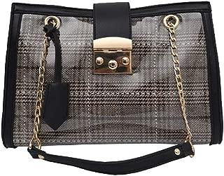 Fine Bag/Women's Handbag Plaid Simple Chain Bag Fashion Wild PU Shoulder Bag Large Capacity Ladies Bag Work Shopping (Color : Brown, Size : 28 * 11 * 18cm)