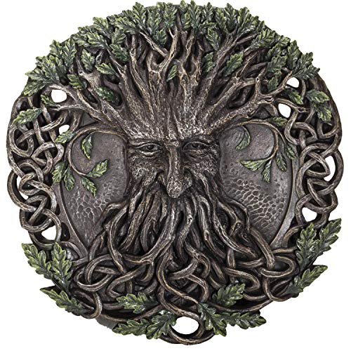 Pacific Giftware Oak Tree Greenman with Celtic Knots Circular Resin Wall Plaque Home Decor