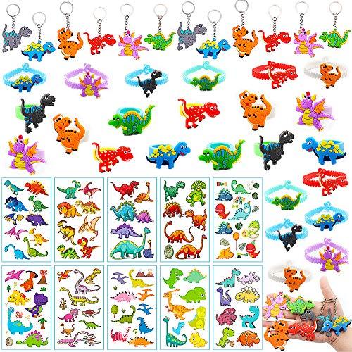 CHEPL Artículos de Fiesta Dinosaurios Cumpleaños Niño 46 Piezas Juguetes de Fiesta Dinosaurios Pulsera Dinosaurio para Relleno piñatas y Bolsas de Regalo de Fiestas de cumpleaños Infantil
