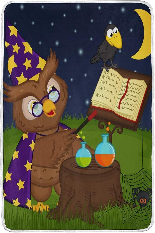 CPYang Galaxy Cute Owl Wizard Couvre-lit Doux et Chaud en Microfibre Lit canapé couvertures pour Adulte Filles Garçons Enfants 152x 229cm