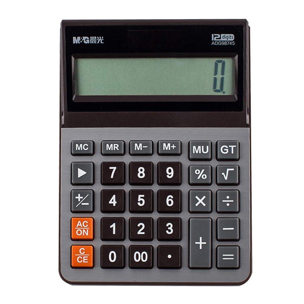 ゲートウェイ止まる絶え間ないデスクトップ電卓、オフィスデュアルパワー商業電卓学生ポータブル12桁ディスプレイデスクトップ電卓、通貨電卓