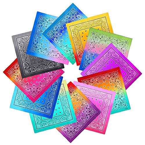 URATOT 12 Pack Novelty Gradient Cotton Bandanas Paisley Print Head Wrap Handkerchief, 2 Style