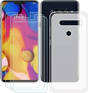 YZKJ Fodral för LG V40 ThinQ Cover Semi-Trasparent silikon skyddande skal TPU skal Case 3 stycken pansarglas skärmskydd fö...