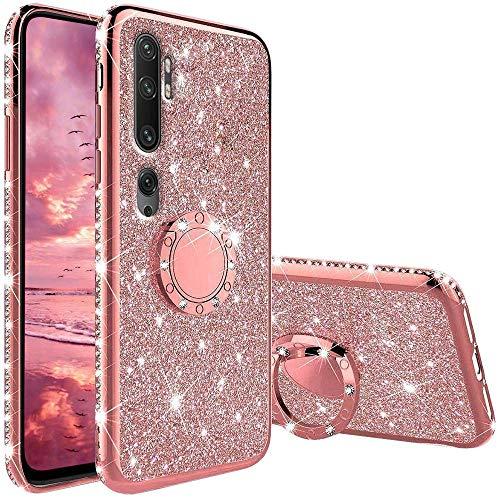 Hülle Kompatibel mit Xiaomi Mi Note 10/ CC9 Pro, Glitzer Handyhülle mit Ring 360 Grad Ständer, Diamant Glanz Bling Stylischer Mädchen Hülle Ultra-Slim Stoßfeste Anti-Rutsch Silikon Schutzhülle - Pink