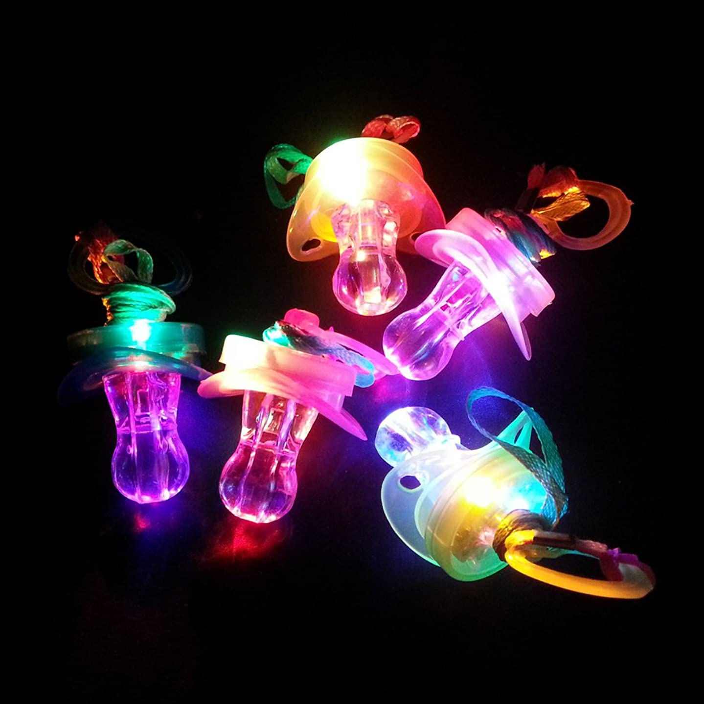 12 Pieces Light up Blinking Joke Pacifier Toy LED Pacifier Whistle Suitable for Activities in KTV and Bar Concert Tools for Cheering for Sports Events