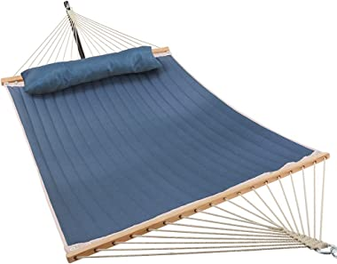 Patio Watcher 11 Feet Quilted Fabric Hammock with Pillow Double 2 Person Hammock with Bamboo Spreader Bars, Perfect for Outdo