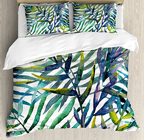 Ambesonne Leaf Duvet Cover Set, Watercolor Artwork of Tropical Island Vegetation Colorful Palm Leaves, Decorative 3 Piece Bedding Set with 2 Pillow Shams, Queen Size, Green Purple
