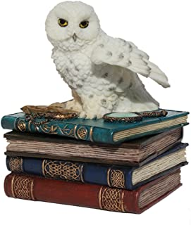 4.75 Inch Snow Owl Flap Wings on Books Trinket Box, White Color