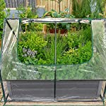 Quictent 49''x37''x36'' Extra-Thick Galvanized Steel Raised Garden Bed Planter Kit Box with Greenhouse 2 Large Zipper… 17 √【Dual Use Raised Bed】Use the raised garden bed and greenhouse together to keep plants warm and growing in winter and spring. Or move the greenhouse to keep other small plants to grow, do as your need. Give you more freedom to use these two parts. √【Extra-thick Reinforced Galvanized Steel】--- 0.5mm thickness galvanized side, 1.0mm galvanized sheet for corner, 11.8inch in height, perfect size with extra-thick steel, stable for using at least 5 years. √【Eco-friendly Galvanized Paint】--- Use eco-friendly galvanized paint, efficiently prevent rust; And with the advanced dark grey, the most popular color, give your garden more beauty. Also never worry about that pest and rain damage the wood garden bed; galvanized steel garden bed provides lasting use and no discoloration.