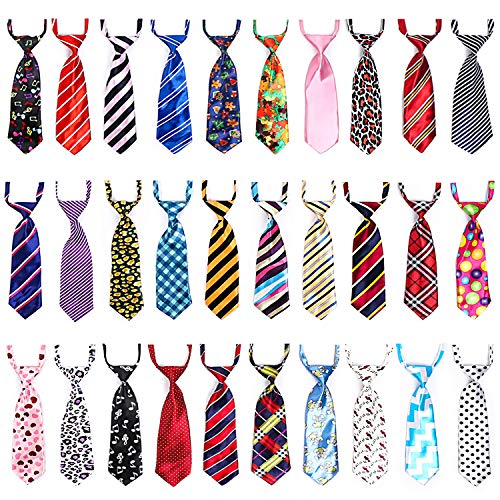 Dog Neck Ties, 30 PCS Segarty Dog Ties and Bows, Adjustable Dog Neckties for Medium Large Dog, Bulk Pet Bow Ties Collar Dog Grooming Accessories for Male Boy Dogs Christmas Holiday Birthday Costumes