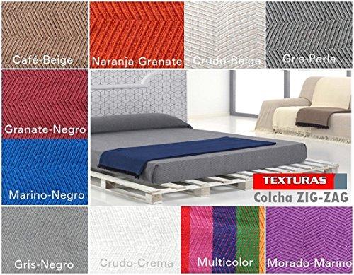 Texturas VIP - Colcha Multiusos ZIG-Zag Sofá y Cama Low Cost (Varios tamaños Disponibles) (125_x_180_cm, Café-Beige)