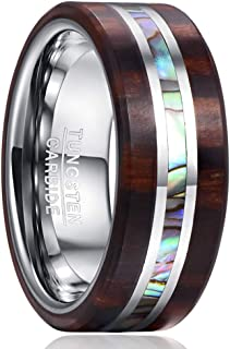 VAKKI 8mm Wood and Abalone Shell Inlay Tungsten Carbide Rings Wedding Band for Men Comfort Fit Size 7-13
