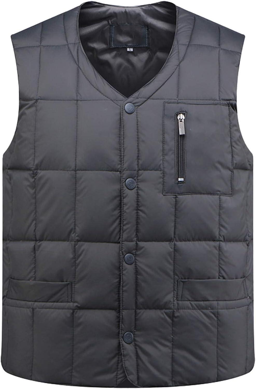 IGJMOD Mens White Duck Down Vest Casual Sleeveless Jacket Thick Warm Ultralight Tank Gray Jacket XXXL