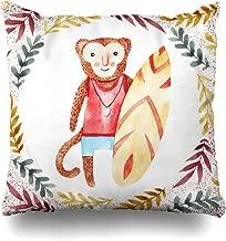 Ahawoso Throw Pillow Cover Drawing Banana Watercolor Funny Monkey Surf Nature Board Aloha Green Botanical Design Flora Home Decor Cushion Case Square Size 20