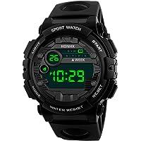 LISJFS Mens Waterproof LED Screen Digital Sports Watch