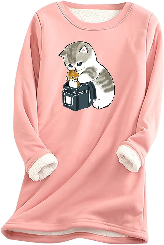 Women Fleece Max 78% OFF Sleepwear Dresses Cute Max 82% OFF Print Cat O-Neck Nightgowns
