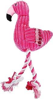 FancyswES8eety Hot Dog Toys Pink Stuffed Screaming Soft Flamingo para Perros Pequeños Sonido Cachorro Juguete de Peluche Squeak Flamencos Mascotas Juguetes