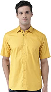 Zeal Half Sleeve Mens Shirts Cotton Casual Golden Yellow Regular Fit Plain or Solid