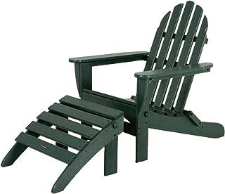 POLYWOOD PWS136-1-GR Classic 2-Piece Adirondack Chair Set, Green