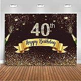 Nouveau Noir et Or 40e Anniversaire Toile de Fond 250x180 cm Vinyle Joyeux Quarante Anniversaire Or Points Champagne Photographie Fond Anniversaire célébration événement décors