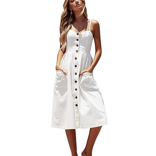 d65edcff4a70 Miss Floral Women's Bardot Button Through A-Line Midi Strappy Dress 23  Style Size 6