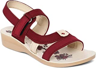 PARAGON Girls P-Toes Maroon Casual Sandals
