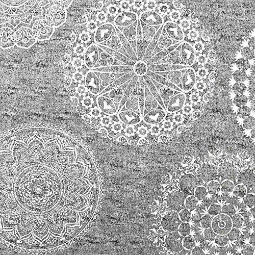 Kt KILOtela Tela de loneta Estampada - Retal de 300 cm Largo x 280 cm Ancho | Mandalas Tatoo - Gris, Blanco ─ 3 Metros