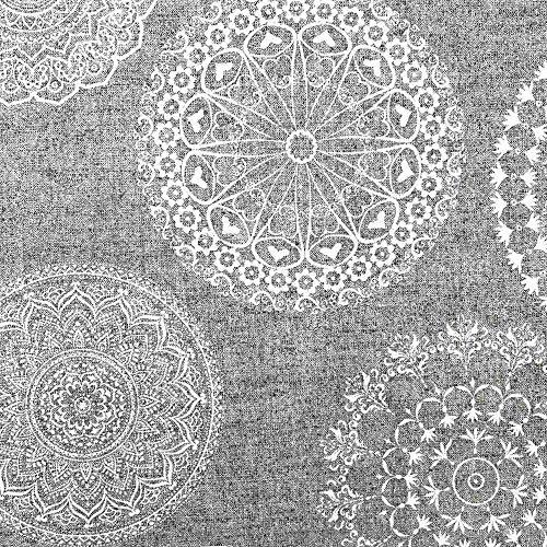 Kt KILOtela Tela de loneta Estampada - Retal de 100 cm Largo x 280 cm Ancho | Mandalas Tatoo - Gris, Blanco ─ 1 Metro