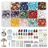 YMHPRIDE Juego de cuentas de cristal de piedras preciosas, con chips naturales irregulares, 1000+pcs,15 colores 20 herramientas para hacer collares, anillos, pulseras, pendientes, hacer manualidades