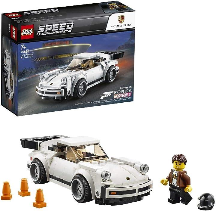 Porsche 911 turbo 3.0 lego speed champions 1974 , macchinina giocattolo, modello forza horizon 4, 75895