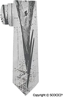 Men's Print Neck Tie Monochrome Sketch Style Detailed Animal 2.9 x 58 in