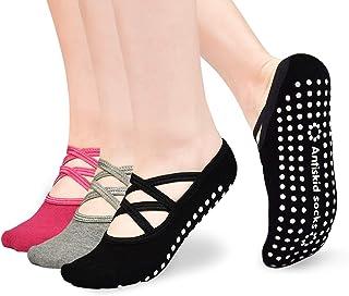 بيلاتيس باري جوارب لليوغا غير قابلة للانزلاق مع أشرطة قبضة الجوارب اللاصقة للنساء