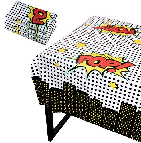 Blue Panda Superhero Party Tablecloth - 3-Pack Disposable Plastic Rectangular Table Covers - Comic Book Themed Party Supplies for Kids Birthday Decorations, 54 x 108 Inches
