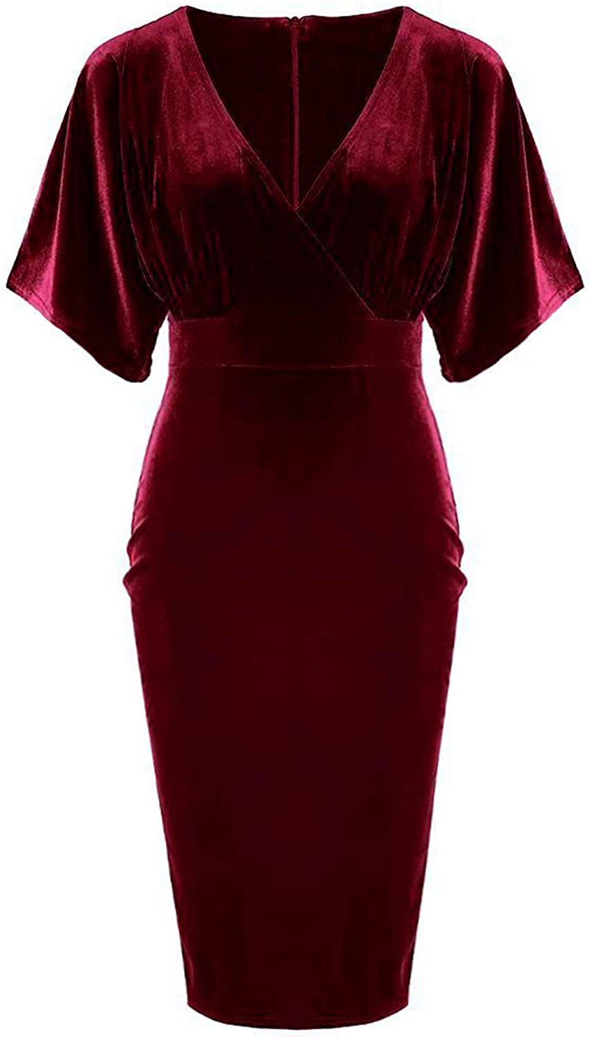 Special sale item GownTown New mail order 1950s Style Butterfly Dress Velvet Sleeve Pencil