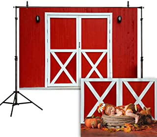 Allenjoy 7x5ft Old Red Barn Door Photography Backdrop Autumn Rustic Friendly Farmhouse Background Photo Studio Booth Props Fall Harvest Thanksgiving Lunch Party Decorations Cake Table Banner
