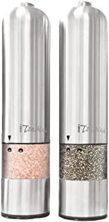 iTouchless Automatic Electric Salt and Pepper Grinder Set – Stainless Steel..