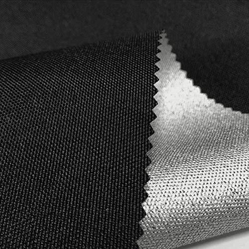 LUOSFUH Flammhemmendes Gewebe Brandschutzunterlage Matte 600D elastischer Draht-Ochsenstoff beschichtetes Silber feuerfestes wasserdichtes Zelt-Gewebe Grillmatte Kamin Stoff Schwarz 100cm x 150cm