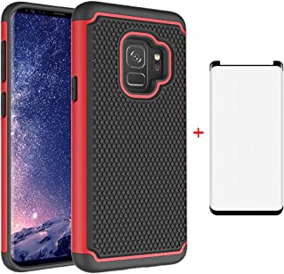 Phone Case for Samsung Galaxy S9 with Tempered Glass Screen Protector Cover and Accessories Slim Rugged Hybrid Full Body Rubber Heavy Duty Protective Glaxay S 9 Edge 9S GS9 Cell Cases Women Men Black