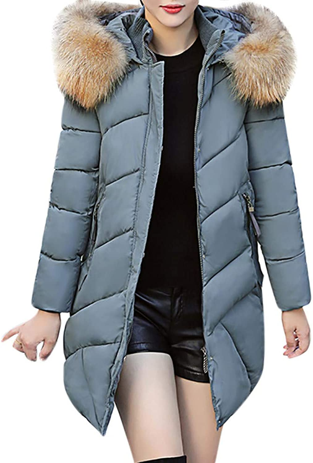 DaySeventh Women Hooded Outwear Warm Coat Long Thick Fur Collar Cotton Parka Slim Jacket