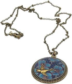 Retro collana uccello medaglione ottone resina 32mm regali personalizzati Natale anniversario cerimonia di nozze ospiti fe...