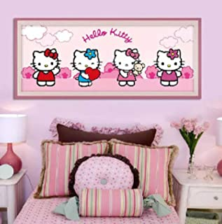Kit de pintura de diamante DIY 5D Hello Kitty Diamante completo bordado de cristal punto de cruz imagen ni/ños manualidades lienzo mosaico Navidad,utilizado para lade la pared del hogar35x40cm