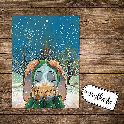 ilka parey wandtattoo-welt A6 Weihnachtskarte lustige Postkarte Weihnachten Print Hase im Schnee mit Tee pk123