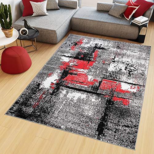 Tapiso Maya Alfombra de Salón Sala Comedor Diseño Moderno Rojo Gris Blanco Moteado Delgada Pelo Corto 140 x 200 cm