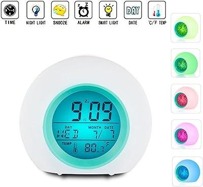 TKSTAR Wake Up Light, Rond LED Réveil numérique Snooze de Répétition Light-attivato Capteur