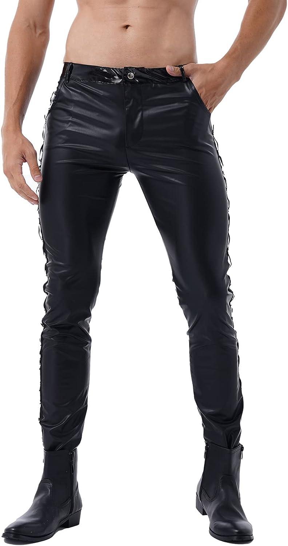 MSemis Men's Faux Leather Pants Punk 80's Rock Skinny Leggings Tight Gothic Motorcycle Biker Pants