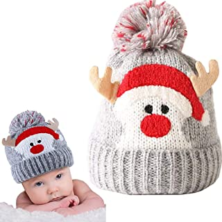 Baby Beanie Infant Toddler Winter Hat With Reindeer Kids Knitting Ball Hat