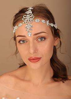 Denifery Gothic Hair Jewelry Bride Wedding Head Chain With Crystal Rhinestones Head Piece Festival Head Chain Jewelry for ...